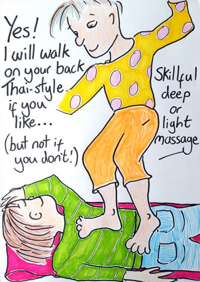 Body-Mind-Healing-Hastings-St-Leonards-East-Sussex-Deep-tissue-massage-Thai-Massage-walking-on-back-illustration