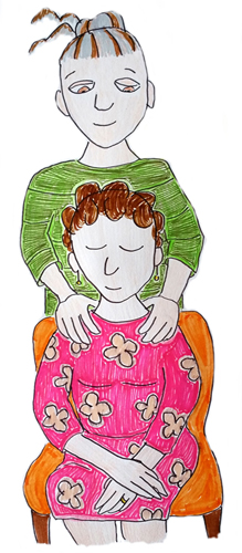 Body-Mind-Healing-Hastings-St-Leonards-East-Sussex-pain-management-stress-relief-TRE-trauma-release-exercises-massage-illustration-of-embodied-Healing-person-seated-with-touch