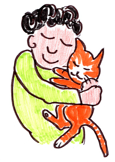 Body-Mind-Healing-Hastings-St-Leonards-East-Sussex-pain-management-stress-relief-TRE-trauma-release-exercises-massage-illustration-of-person-with-cat-turning-a-state-into-a-trait